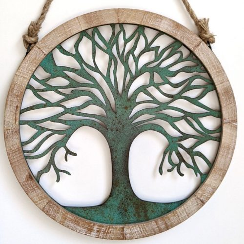 Green Tree of Life Timber Framed Metal Wall Art