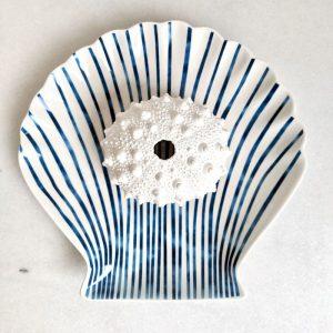 Hamptons Blue White Ceramic Trinket Plate Tray