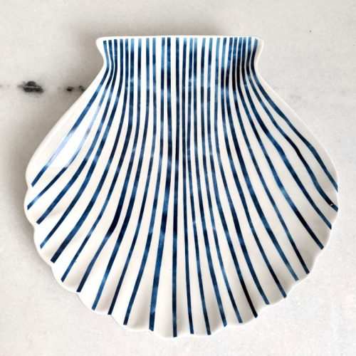 Hamptons Blue White Ceramic Trinket Plate Tray