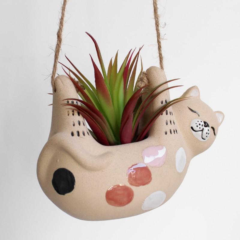 Hanging Kitty Cat Ceramic Pot Planter
