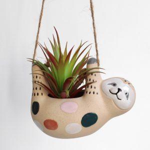 Hanging Sloth Animal Ceramic Pot Planter