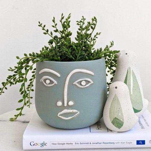 Light Blue Face Head Concrete Pot Planter