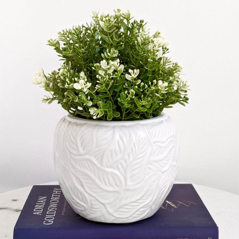 Matt White Leaves Ceramic Pot Planter