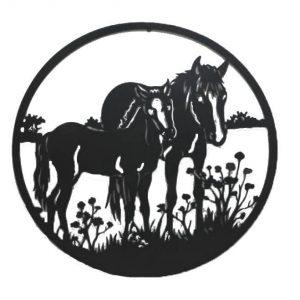 Mother Baby Horse Black Metal Wall Art Decor