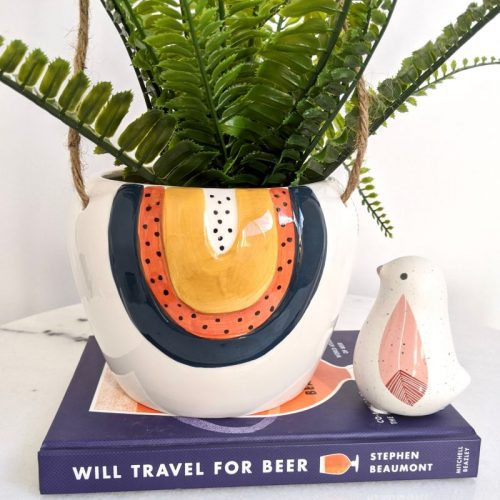 Navy Orange Rainbow Ceramic Hanging Pot Planter