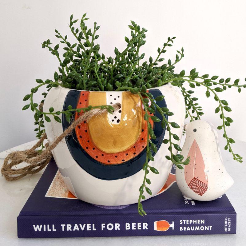 Navy Orange Rainbow Ceramic Hanging Pot Planter