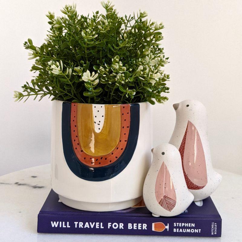 Navy Orange Rainbow Ceramic Pot Planter