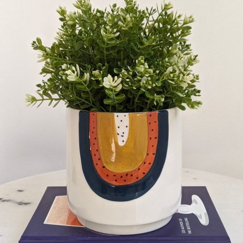 Navy Orange Rainbow Ceramic Pot Planter