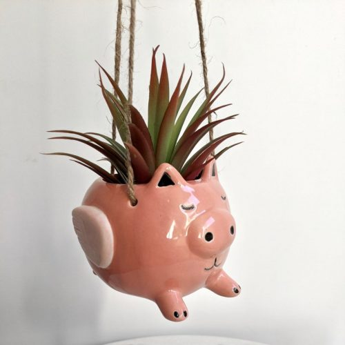 Pink Flying Pig Ceramic Hanging Pot Planter