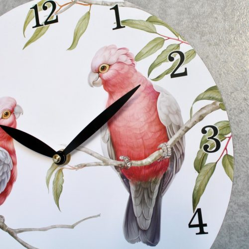 Pink Galah Duo Wooden Wall Clock