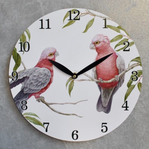Pink Galah Duo Wooden Wall Clock