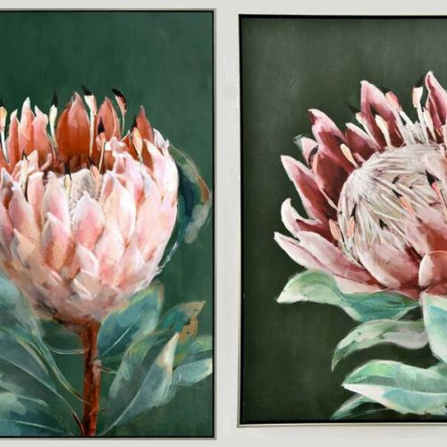 Pink Green Protea Flower Framed Canvas Wall Art