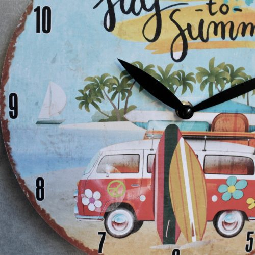 Red Kombi Van Summer Beach Wall Clock