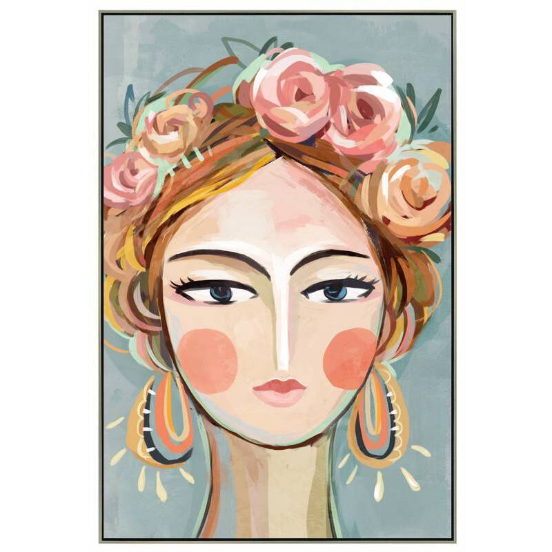 Rose Girl Floral Head Framed Canvas Wall Art