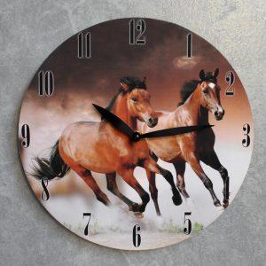 Running Brown Horses Wooden Wall Clock, 28.8cm