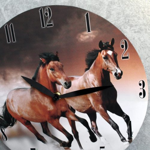 Running Brown Horses Wooden Wall Clock