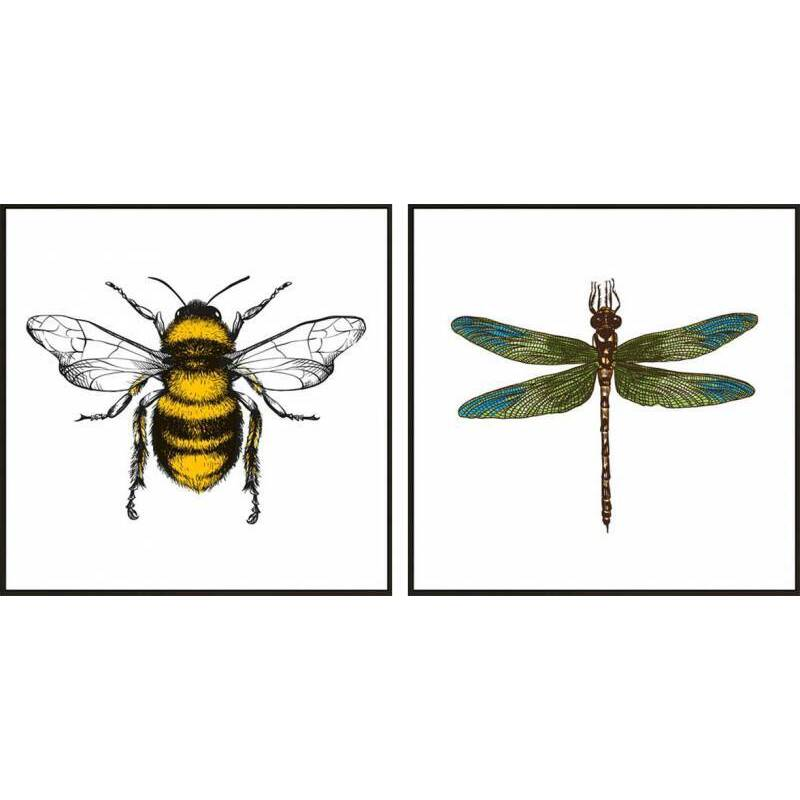 Set of 2 Dragonfly Bumble Bee Framed Canvas Wall Art