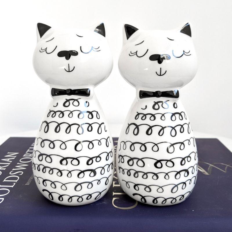Set of 2 White Cat Ceramic Figurine