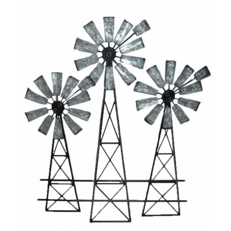 Windmill Trio Metal Wall Art