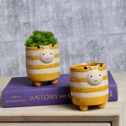 Cute Yellow Bee Pot Planter - Set of 2