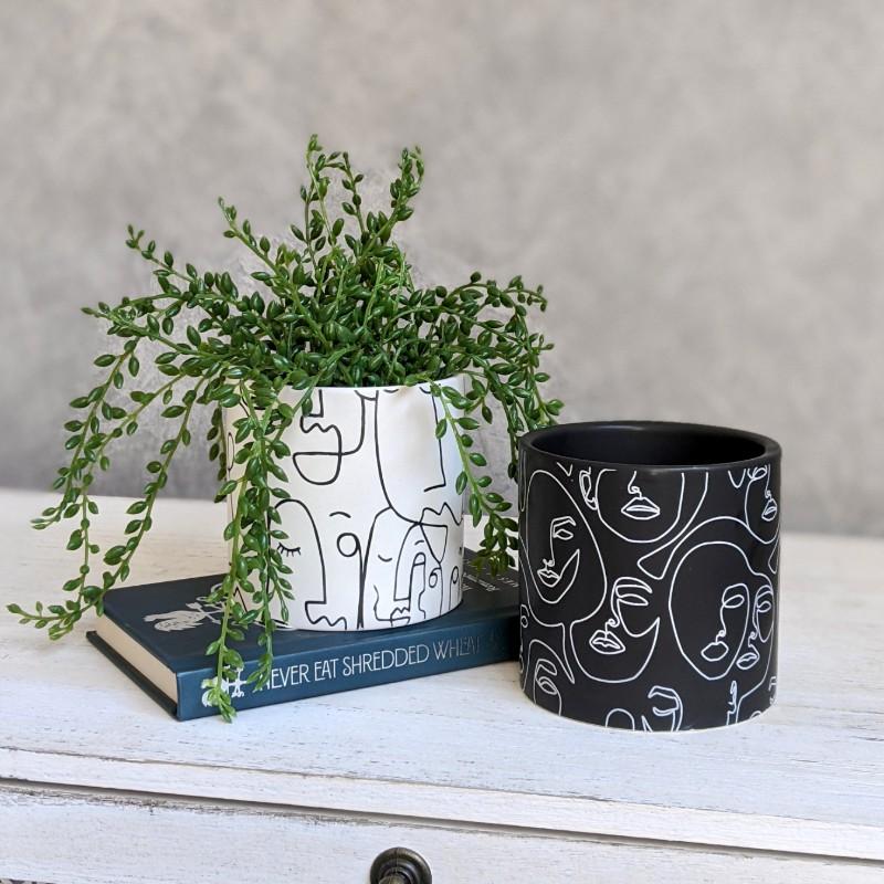 Black White Linear Face Planter Pot