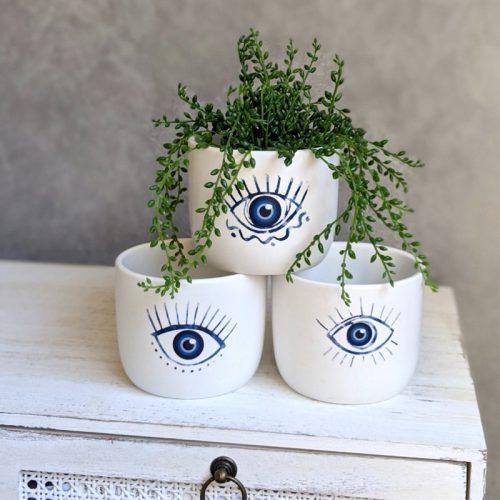 Blue Eyes Ceramic Pot Planter