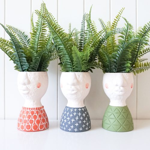 Blue Green Orange Face Pot Planter - Set of 2