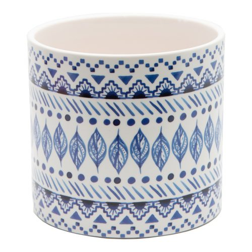 Blue Leaves Tribal Pot Planter - Set of 3