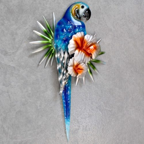 Blue Macaw Parrot Metal Wall Art Decor
