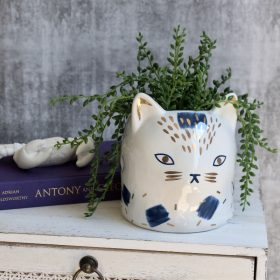 Blue White Cat Ceramic Pot Planter