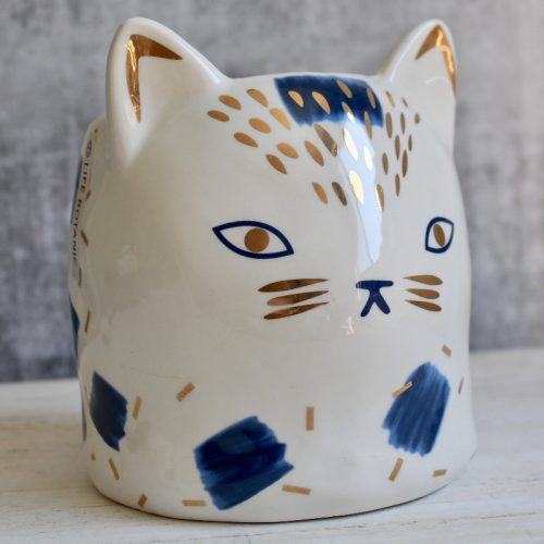 Blue White Cat Planter