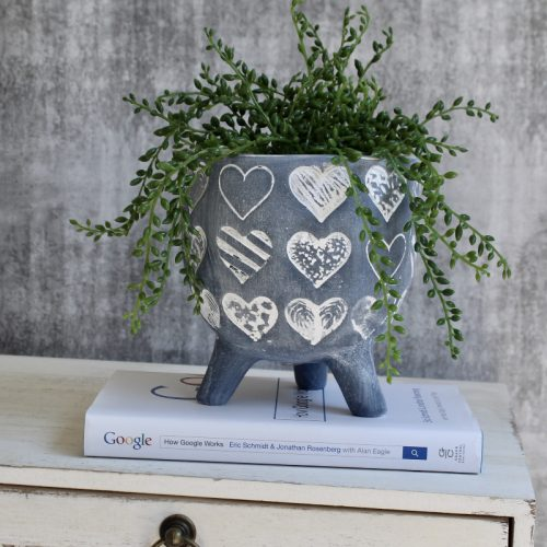 Blue White Hearts Footed Pot