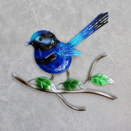 Blue Wren Metal Wall Art Decor