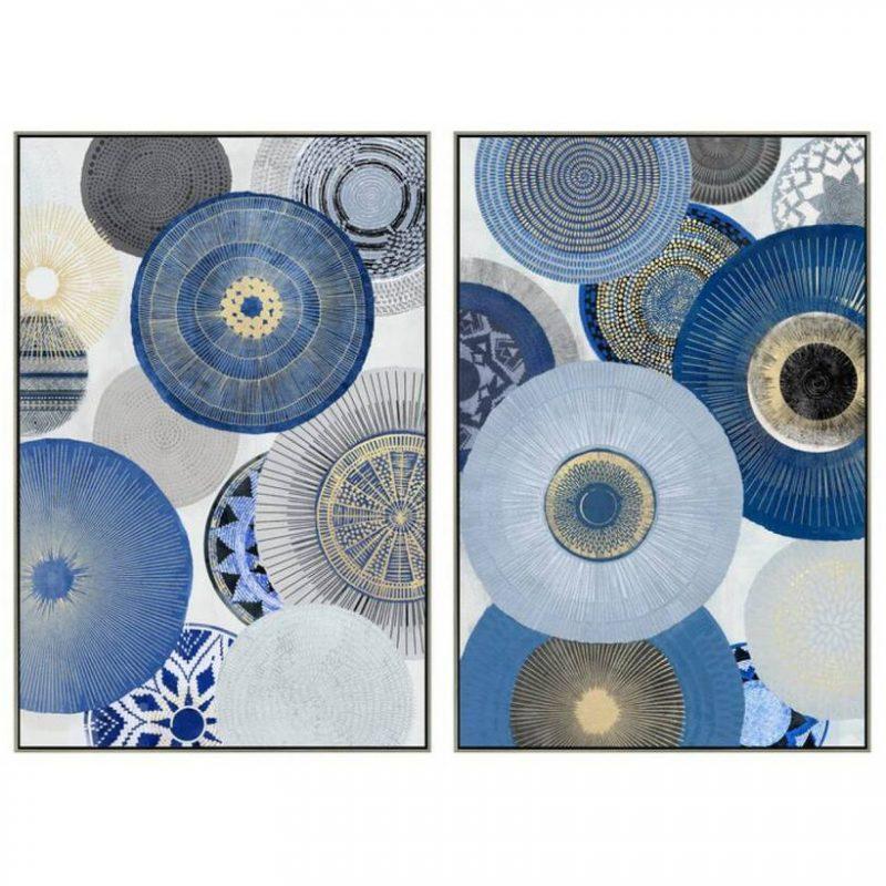 Boho Blue Abstract Framed Canvas Wall Art