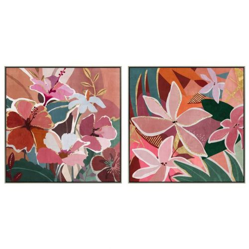 Boho Floral Framed Canvas Wall Art