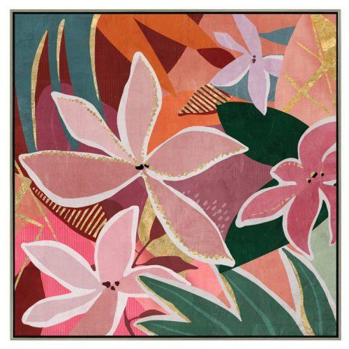 Boho Floral Framed Canvas Wall Art
