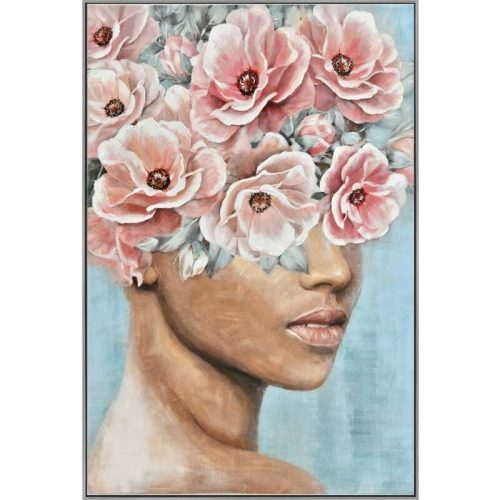 Brown Floral Lady Framed Canvas Print Wall Art