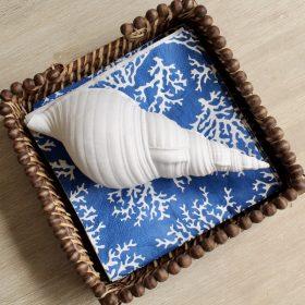 Coastal White Shell Decor Ornament - Set of 2