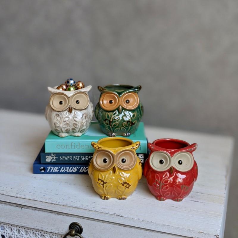 Colourful Owl Ceramic Pot Planter - Set of 4
