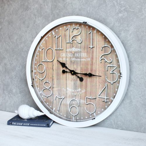 Distressed White Iron Glass Wall Clock