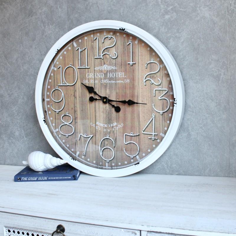 Distressed White Iron Glass Wall Clock