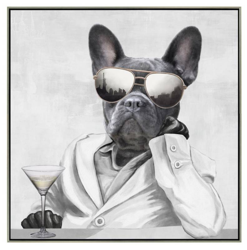 Drinking Funny Dog Framed Canvas Wall Art