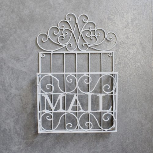 French Scroll White Metal Mail Box Caddy