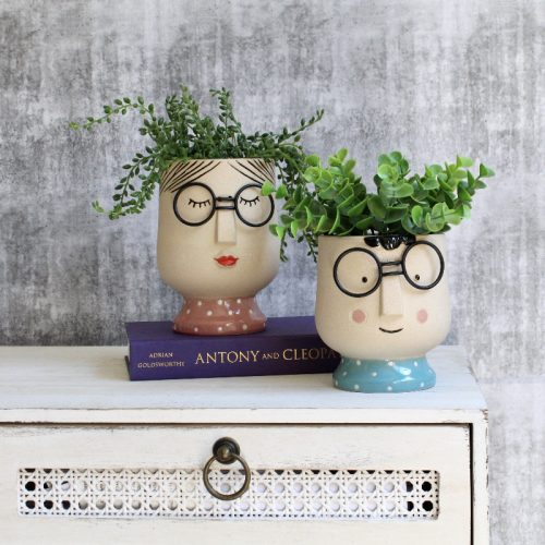 Girl Boy With Glasses Concrete Pot Planter