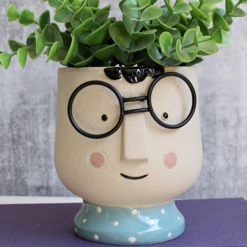Girl Boy With Glasses Concrete Pot Planter