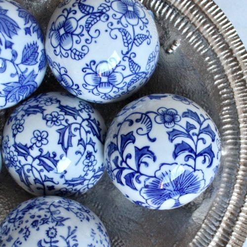Hamptons Blue Floral Ceramic Decorative Balls - Set of 6