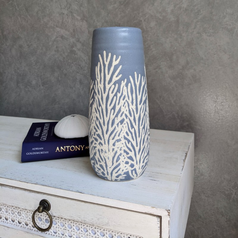 Coastal Light Blue Coral Ceramic Vase
