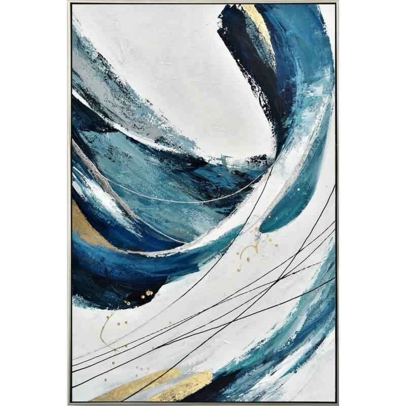 Modern Abstract Blue Framed Canvas Print Wall Art