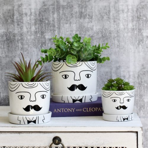 Moustache Man Planter With Saucer - Set of 3