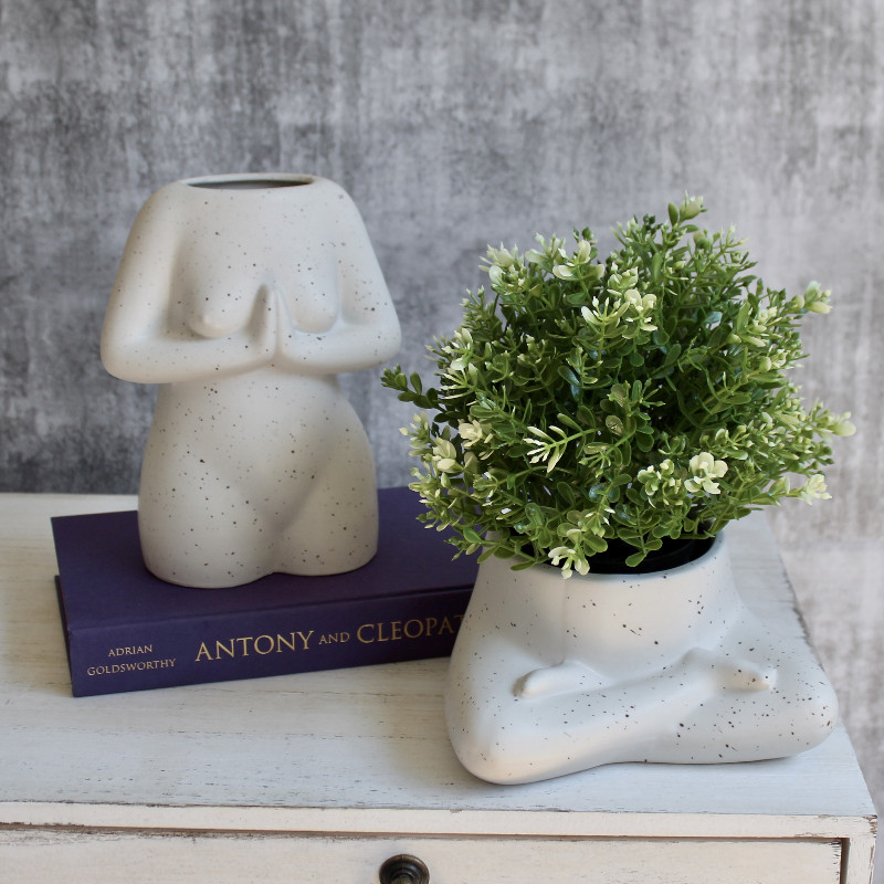 Namaste Women Figure Ceramic Vase